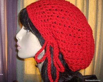 BIG HAT SALE Womens Slouchy Hat Crochet Slouchy Hat Tam Womans Hat Crochet Red Color