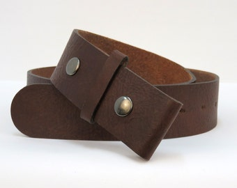 chocolate brown premium leather double snap belt