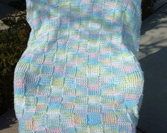 Super Sale - Baby Rainbow Ombre - 35 inch x 45 inch - Knitted Baby-Lap Blanket - FREE SHIPPING