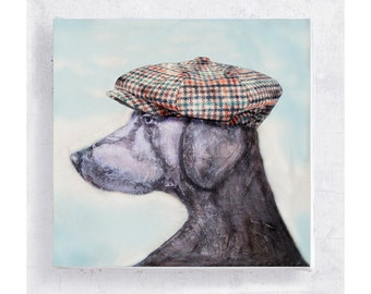 Golfer Jake -  Weimaraner Print - Dog Art - Weimaraner with Newsboy Cap - Golf Hat - Canvas Print on 5x5 Art Block - Animal Art