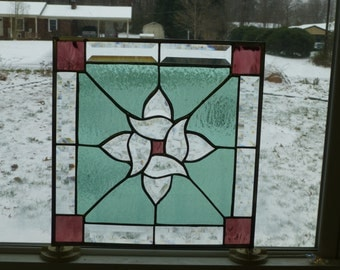 Beautiful Green and Plum Stained Glass & Beveled Panel-Free Shipping!