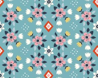 Flowerbed Blue - Wildland - Birch Fabrics - Miriam Bos - Organic Cotton Quilting Fabric - Pink Navy Floral Western