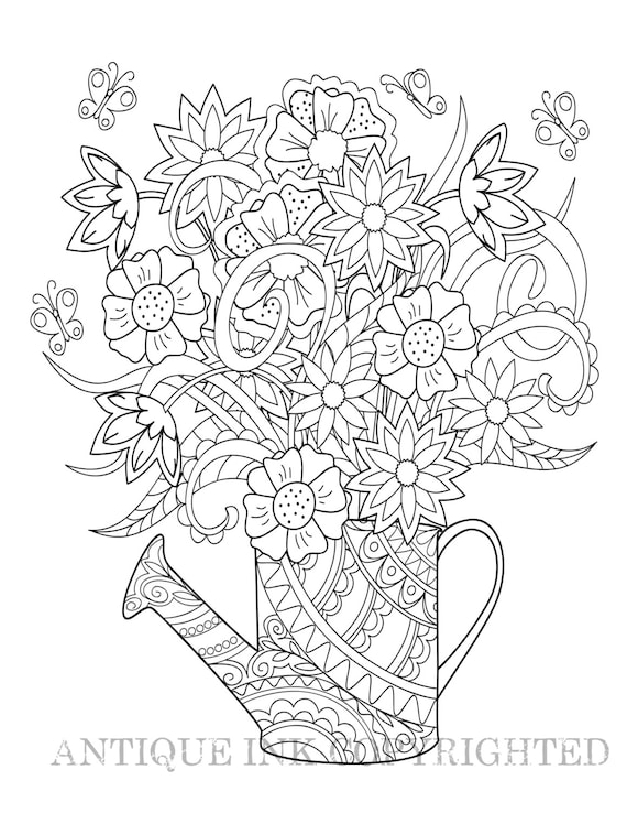 watering flowers coloring pages - photo#35