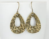 Antique Gold Hammered Teardrop Earrings, Hammered Gold Earrings, Antique Gold Drop Earrings, Hammered Antique Gold Earrings
