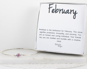 February Birthstone Swarovski Amethyst Sterling Silver Bangle Bracelet, Sterling Silver Bracelet, Amethyst Bangle Bracelet, #763