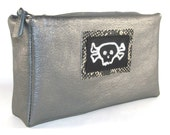 Metallic Silver Skull Leather Zipper Bag Cosmetic Pouch