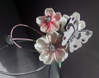 Cherry Blossom Trio with Silver Butterfly Hairpin
