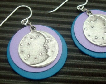 Layered Disc Earrings with Antique Silver Plated Moon and Stars in Purple and Teal