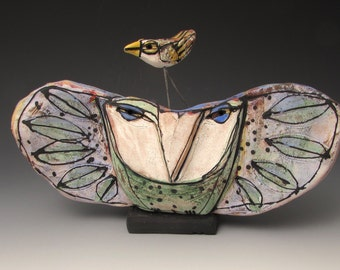 """Owl, handmade one of a kind art,""""Owl Person and Dancing Beauty Bird Holding Space for the Dream of Love."""" 8"""" wide"""