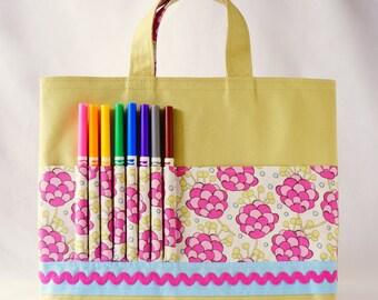 Crayon Tote • Crayon Bag • Coloring Bag • Art Tote • Crayon Holder • Crayon Roll • Flower Girl • Busy Bag • Activity • ARTOTE • Bloomsberry