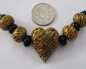 Tiger Heart Lampwork Bead Set