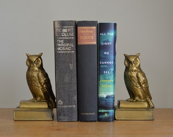 Vintage brass owl bookends, 1950s