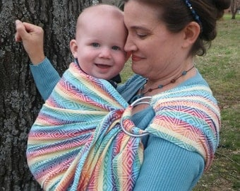 WCRS, Wrap Conversion Ring Sling Baby Carrier -  Toddler Sling, Woven, Sling, Rainbow Cube, Stripes, Pleated Shoulder - DVD included