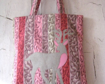 Woodland Deer Applique Tote Vintage Fabric
