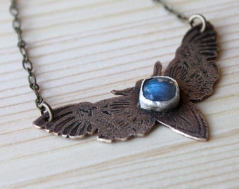 Labradorite Etched Moth Necklace