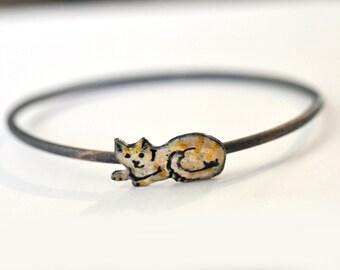 Handmade Bangle - 'Ginger Cat' - Holiday Gift for Her