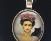 Frida pendant   hat rose  silver dish with glass dome loop at top  (DRW900) quantity one Mexico day of the dead