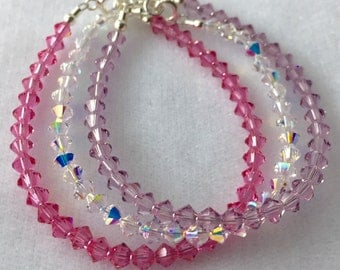 Birthstone Swarovski Crystal  Bracelet, Child Flower Girl  Bracelet, Stacking Bracelet,