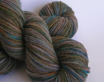 Yarn Alpaca Wool Worsted weight HOBBITY OOAK superfine super fine alpaca wool blend 50 50 teal moss green brown teal russet
