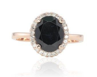 Halo Engagement Ring - 4.5 Carat Oval cut Black Spinel Ring with Diamond Halo and Plain Rose Gold Shank - Angelique Collection - LS4663