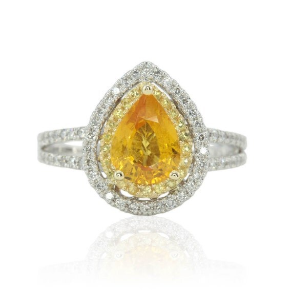 yellow sapphire ring sapphire engagement ring pear shaped