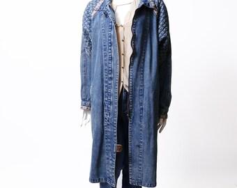Vintage 80s Long Denim Jacket // Quilted Denim Trench Coat // Southwestern Jean Jacket //  M