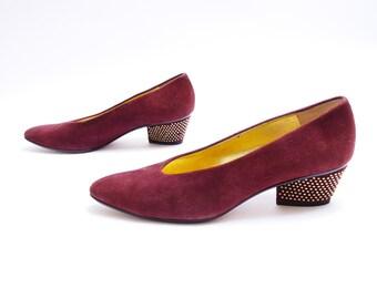 80s 90s Anne Klein Studded Heels // Burgundy Pumps // Red Wine Suede Shoes// Brass Studs on Heels // 7 1/2M size