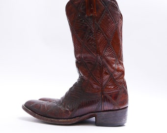 Vintage Patchwork Reptile Boots // Pointed Toe Cowboy Boots // Brown Leather // Mens 9