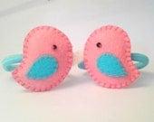 Hair Bobble, Hair Ties, 1 Pair of 3D effect Padded Love Bird Hair Bobbles,Hair Ties, Hair elastics Ponytail holders Handmade