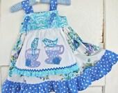 18M Dress in Blues Tea Party Applique Apron Dress READY to SHIP Blue Lavender Aqua White