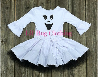 Cute Girl Ghost Costume, Cute Girl Comfy Knit Ghost Dress, Ghost Halloween Girl Outfit, Comfy WHite Knit Girl Dress