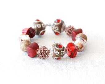 Red Beaded Bracelet, Spicy Cinnamon Bracelet, Holiday Jewelry, Stretch Bracelet, Stacking Bracelet, Ornate Bracelet, Sparkly Jewelry