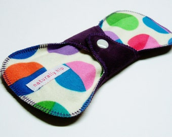"8"" Flared Cotton Velour Regular Cloth Menstrual Pad, Ivory Circles Polka Dots Purple Blue Green Pink, Cloth Sanpro, Contoured, Incontinence"