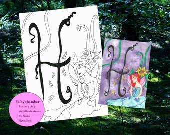 Fairy Monogram H is for Hersilia Digital Stamp Instant Download Fantasy Art Fairy Line Art Coloring Page Printable Image