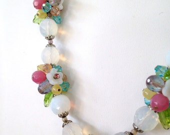 Opalescent Necklace Opalite Beads Bride Forest Girl Charm Necklace Blossoms