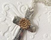 Mixed metal flower spoon handle cross pendant