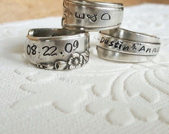 Custom stamped spoon ring