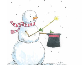 Snowman Watercolor Print -Gift for Magician -  Snowman Magic Print - Snowman Holiday Wall Art - Snowman Wall Decor