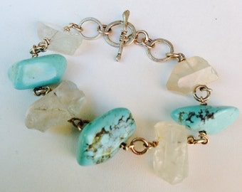 Turquoise and Quartz Crystal Bracelet
