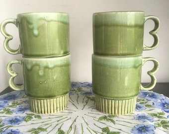 Vintage Stacking Mugs, Four Spring Green Drip Glaze Pottery Mugs Stacking Coffee Cups Made in Japan Pistol Grip