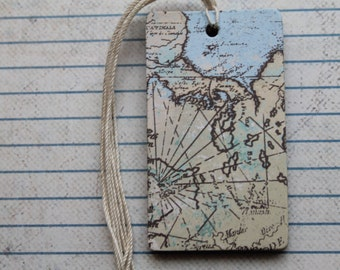 20 map design patterned paper over chipboard gift tags