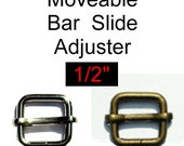 """10 PIECES - 1/2"""" - Moveable Sliders - Nickel Plate or Antique Brass"""