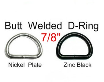 "10 PIECES - 7/8"" - WELDED D Ring, 10 gauge - Nickel Plate or BLACK"
