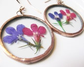 real flower earrings - pink flower earrings - purple flower earrings - real flower earrings - pressed flower jewelry