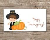 INSTANT DOWNLOAD - Thanksgiving Treat Bag Topper - Pilgrim - Printable Digital File