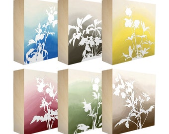 Set of 6 Art Blocks - Limited edition botanical prints on birch panel, plant silhouettes, 5x5 - Free Shipping - Ready to hang - Lenten Rose