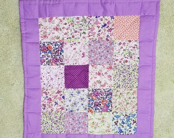 Handmade Quilt, Doll Quilt, American Doll Quilt, Patchwork Quilt, Lavender, Calico, Machine Quilted, Toys, Dolls