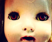 Haunted, Blood Red, Glass Eyes, Christmas Vintage Doll, Shirley Temple, By Paper-Mâché Dream Photography,fPOE