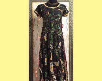 Ancestor Dress #6 - Long Dress Size Small, Organic linen/silk, vintage sari silk, OOAK, fine art women's dress by Dawn Patel Art fiber art