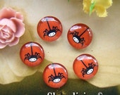 20% OFF SALE - Glass Cabochon, 8mm 10mm 12mm 14mm 16mm 20mm 25mm 30mm Round Handmade photo glass Cabochons  ( Halloween Spider) -- BCH139G